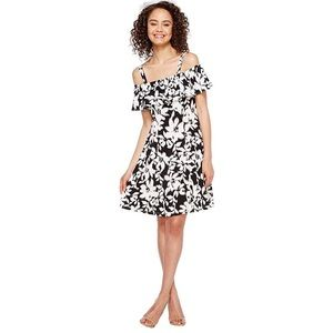 LONDON TIMES FLORAL JERSEY FIT AND FLARE DRESS